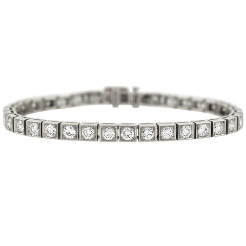 Late Art Deco Platinum Diamond Line Bracelet 4.50ctw