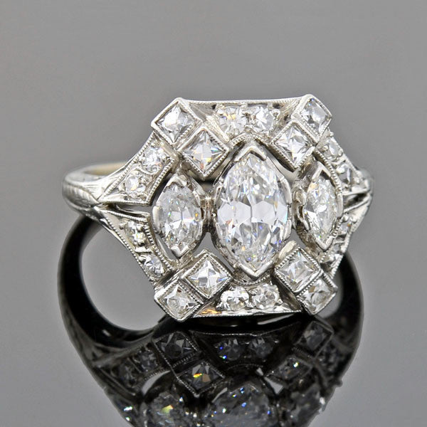 Edwardian Marquise & French Cut Diamond Filigree Ring 1.70ctw