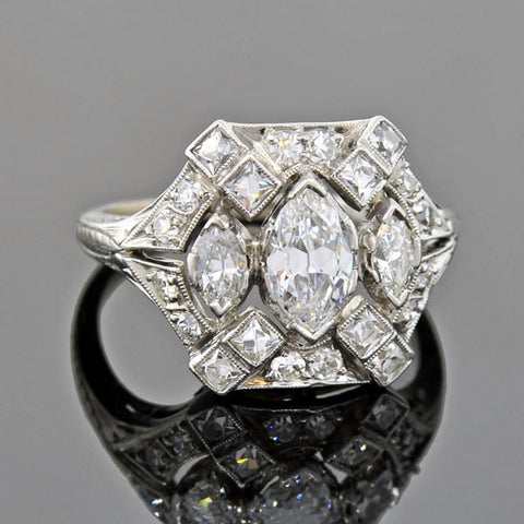 Victorian Style 18kt Repousse Diamond Ring .98ct