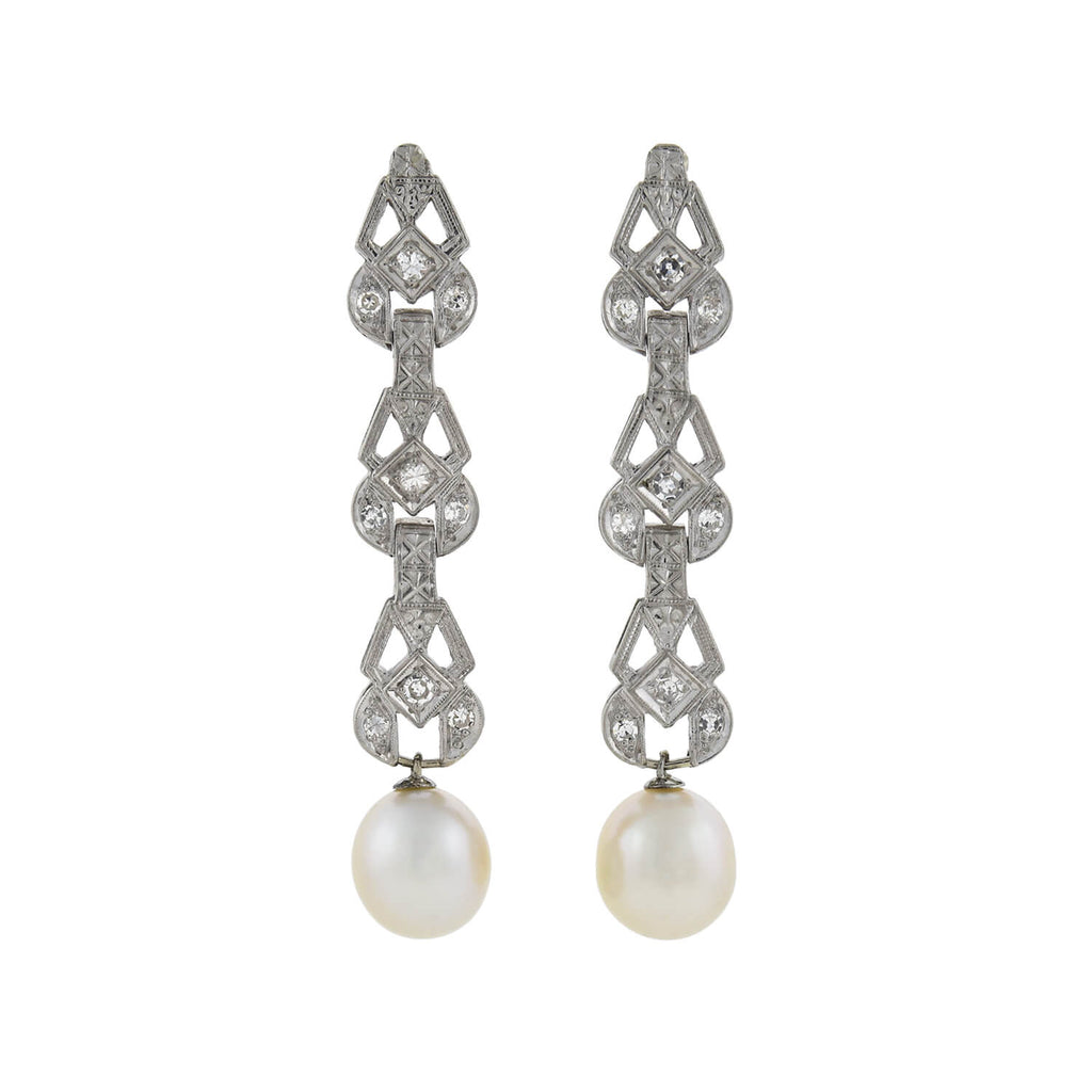 Art Deco Platinum Pearl + Diamond Link Earrings