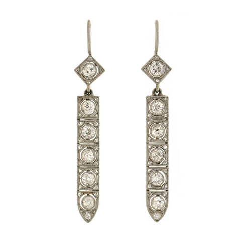 Art Deco Platinum Diamond Drop Earrings 2.50ctw