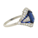 Art Deco Platinum Sapphire & Diamond Ring 1.25ct center