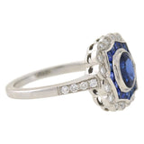 Art Deco Style 18kt Sapphire & Diamond Ring 0.60ct