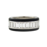 Estate Platinum Onyx & Baguette Cut Diamond Eternity Band