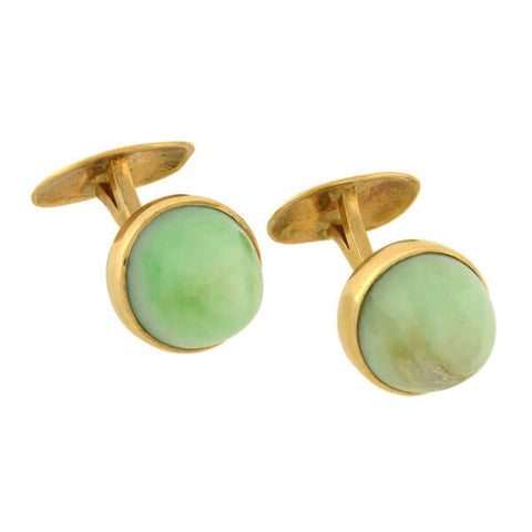 Art Deco 14kt Gold & Jade Cabochon Cufflinks