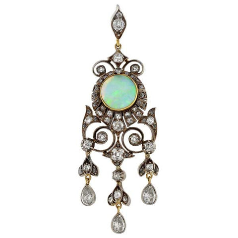 Art Nouveau 14kt Sterling Opal & Diamond Pendant