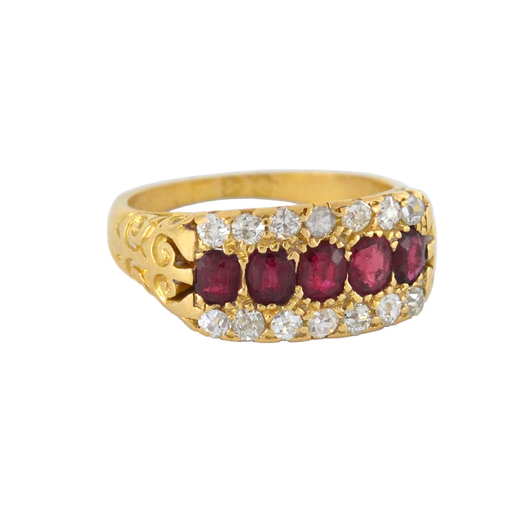 Edwardian English 18kt Burmese Ruby + Diamond Ring