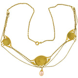 Art Nouveau 18kt Blister Pearl Festoon Necklace