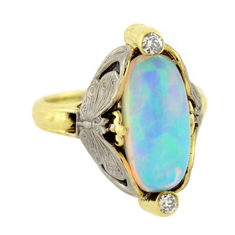 Art Nouveau 14kt Mixed Metals Butterfly Motif Opal Ring