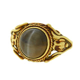 Art Nouveau 14kt Cat's Eye Chrysoberyl Filigree Ring