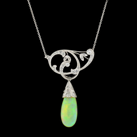 Edwardian Platinum Teardrop Opal + Diamond Pendant Necklace 10ctw