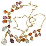Art Nouveau 14kt Multi-Gemstone Harlequin Festoon Necklace