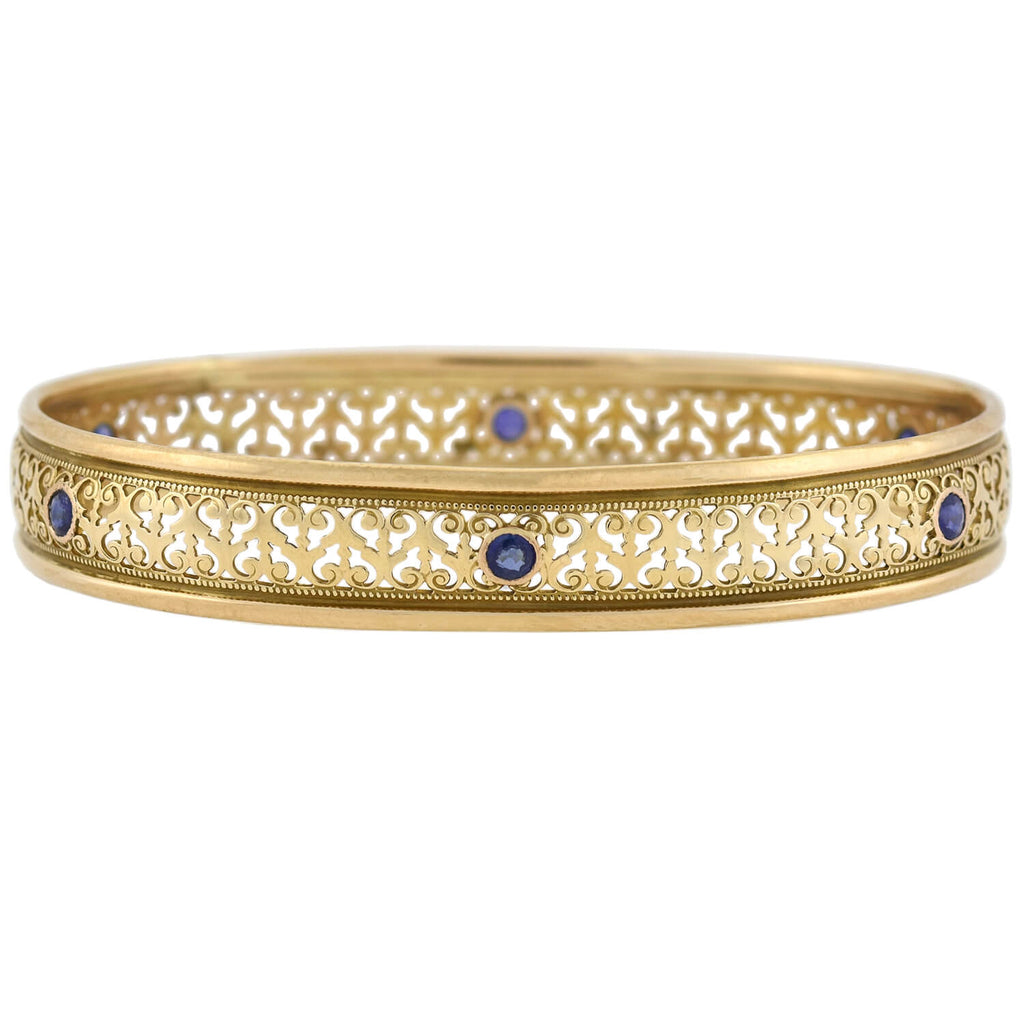 Art Nouveau 14kt Scrolled Wirework Sapphire Bangle Bracelet