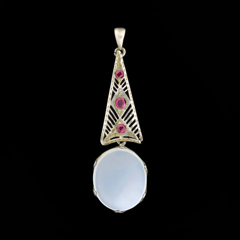 Art Nouveau Sterling Large Moonstone + Ruby Pendant