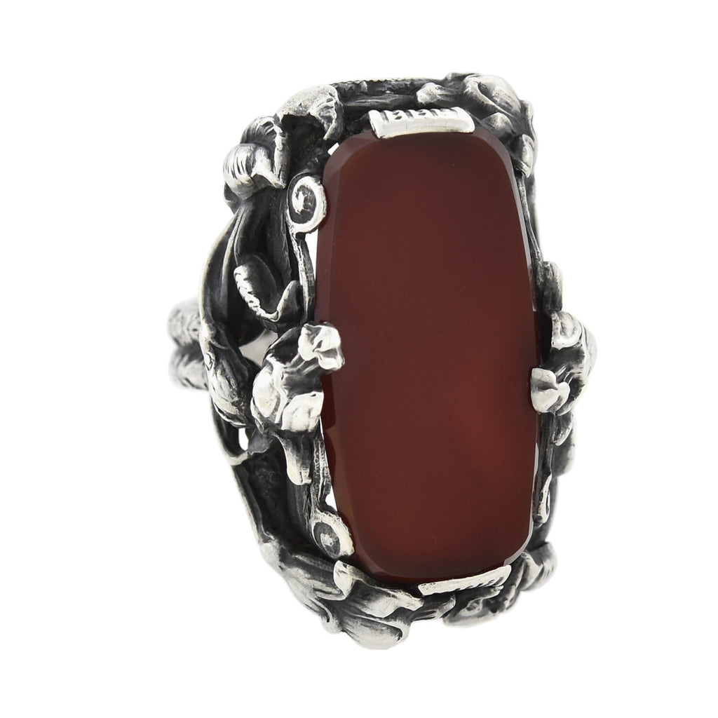 Art Nouveau Large Sterling Carnelian Plaque + Floral Motif Ring