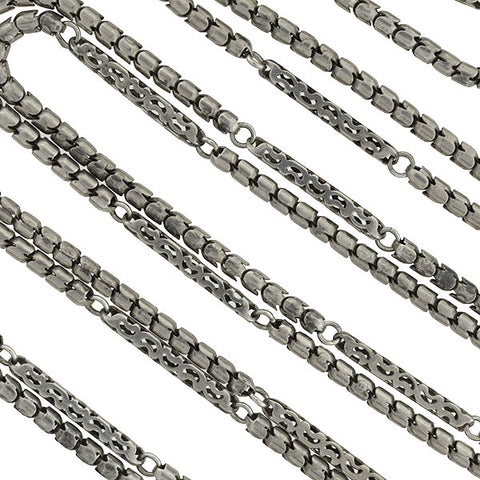 Victorian Long Sterling Silver Articulated Chain 59""