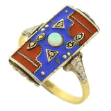 Art Deco 14kt/Sterling Opal & Marcasite Enameled Ring