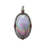 Art Nouveau 14kt Diamond + Ruby Abalone Shell Pendant