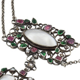 ARTHUR & GEORGIE GASKIN Sterling Pink Tourmaline, Emerald Paste + Pearl Necklace