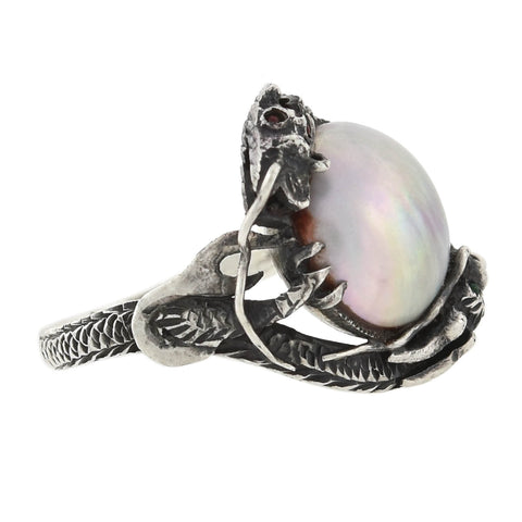 Arts & Crafts Sterling Silver Blister Pearl Dragon Ring