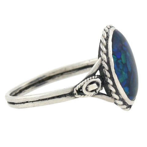 Art & Crafts Sterling Silver Wirework Black Opal Ring