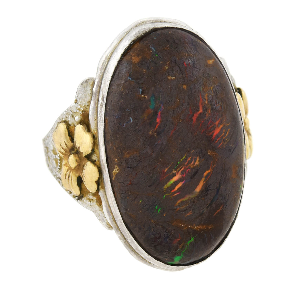 Arts & Crafts Sterling/Gold-Filled Large Boulder Opal Ring