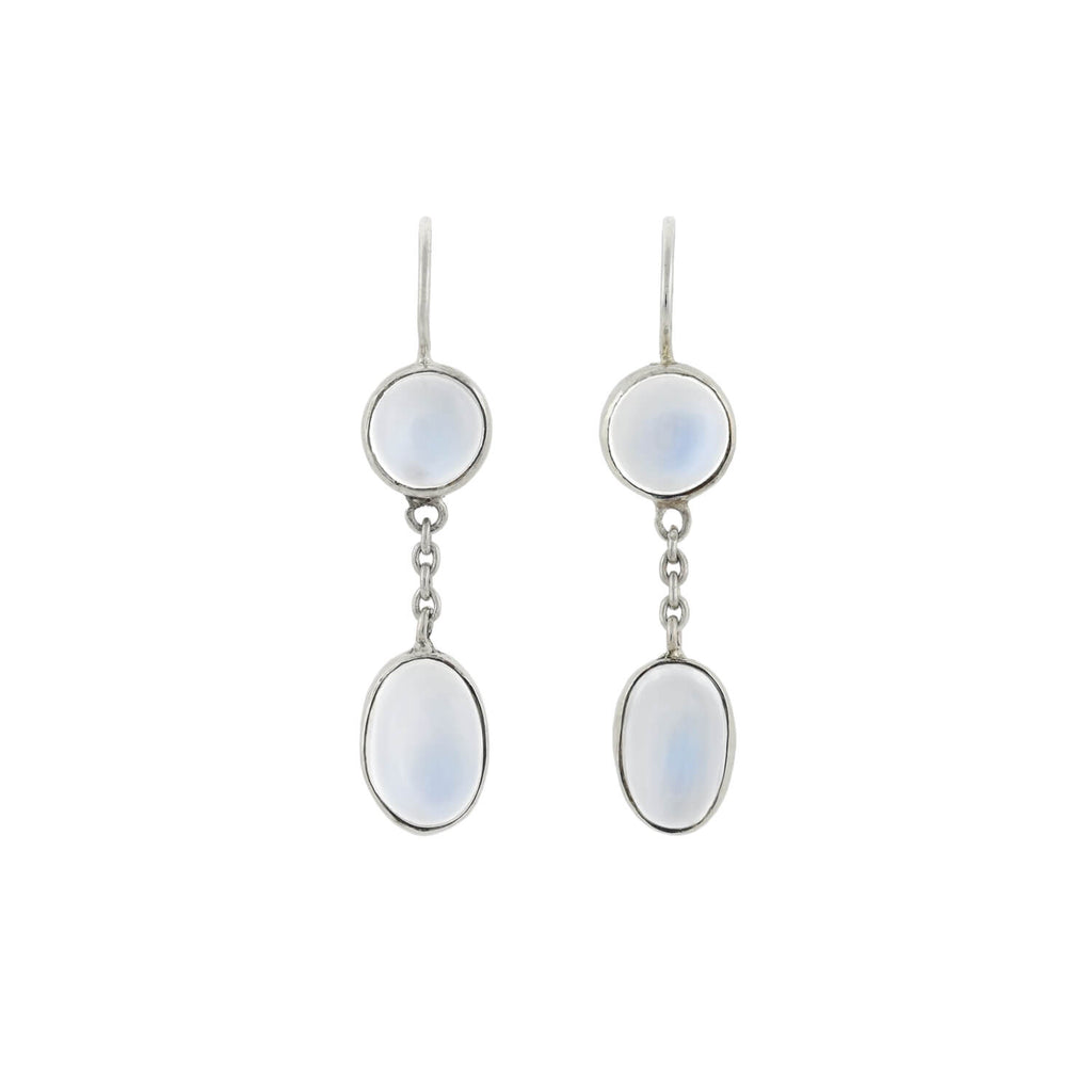Arts & Crafts Sterling Moonstone Dangling Earrings