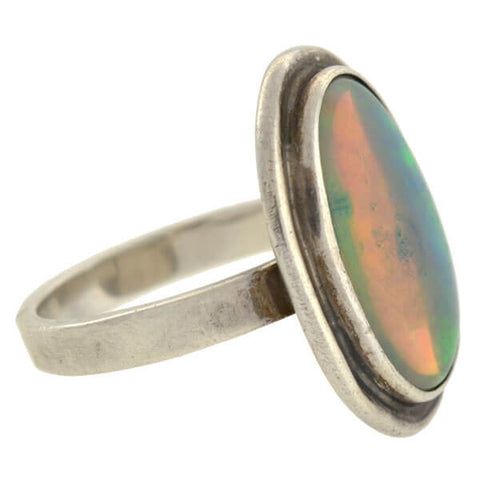 Arts & Crafts Sterling Silver & Opal Ring