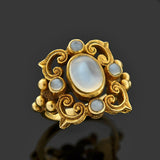Art Nouveau English 9kt Gold Moonstone Ring