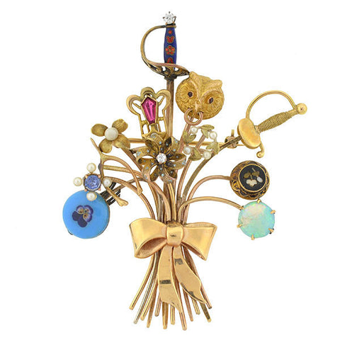Victorian Gold Multi Stickpin Bouquet Brooch