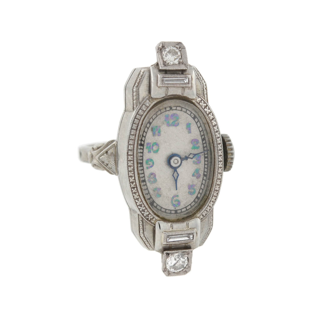 Late Art Deco 14kt White Gold Diamond Watch Ring
