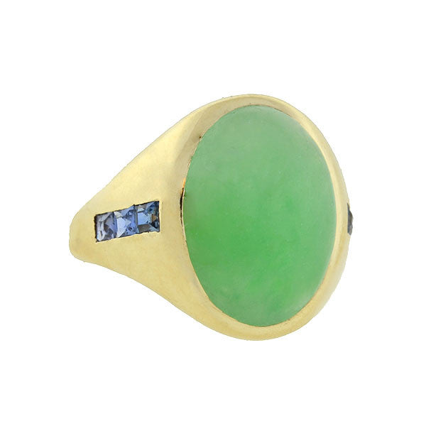 BAILEY BANKS & BIDDLE 14kt Jade & Sapphire Ring