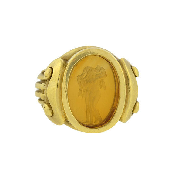 BARRY KIESELSTEIN-CORD Estate 18kt Citrine Intaglio Ring