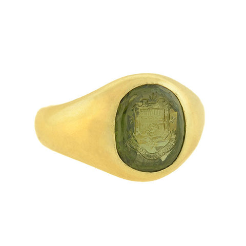 BAILEY BANKS & BIDDLE Victorian 18kt Peridot Intaglio Signet Ring