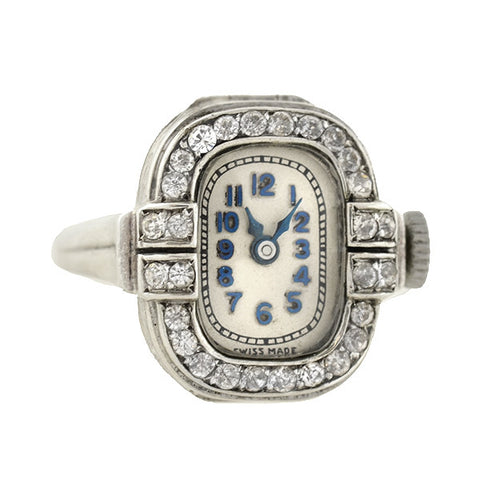BIRKS Art Deco Sterling Rhinestone Watch Ring