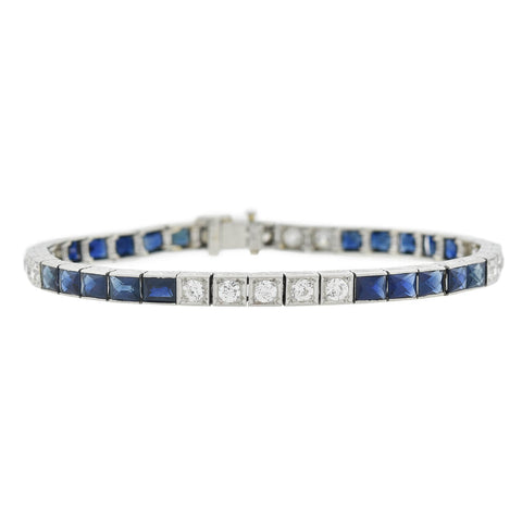 Art Deco Platinum French Cut Sapphire + Diamond Line Bracelet