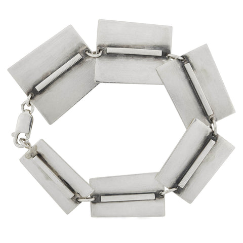 BILL TENDLER Vintage Modernist Sterling Graduating Link Bracelet