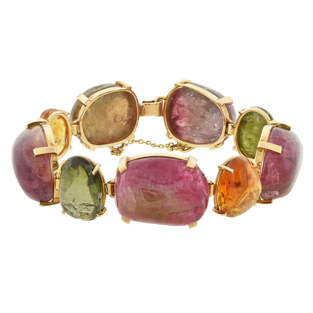 Retro Large 14kt Multi-Colored Tourmaline Link Maine Bracelet