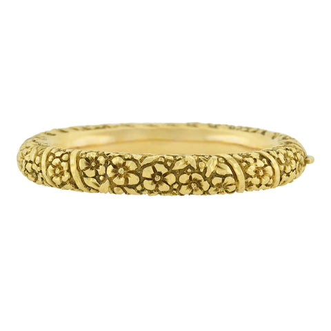 Art Nouveau 18kt Repousse Flower Motif Bangle Bracelet 38.3 grams