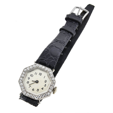 Hayden W. Wheeler & Co. Art Deco Platinum Diamond Watch with Leather Band