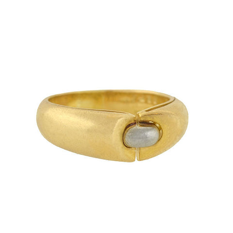 Estate 18kt Gold Band & Tahitian Pearl Ring 12mm