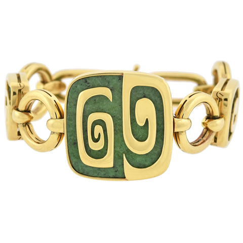 "BVLGARI Estate 18kt Green Garnet ""Theme Collection"" Link Bracelet 49.7dwt"