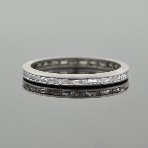 Art Deco Platinum Baguette Diamond Eternity Band .56ctw