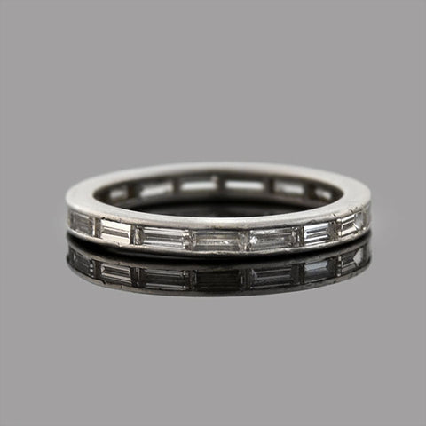 Retro Platinum Baguette Diamond Eternity Band 0.65ctw