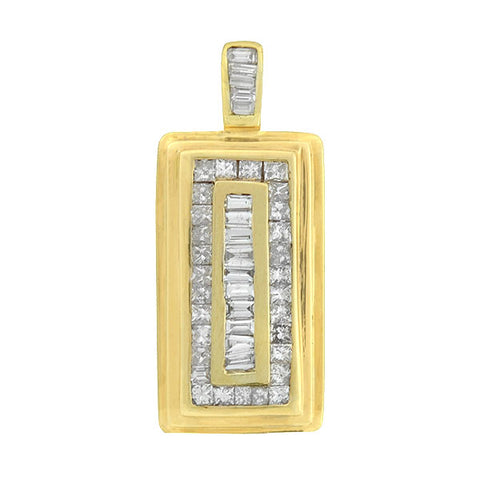 Estate 14kt Baguette & Princess Cut Diamond Pendant 2.00ctw