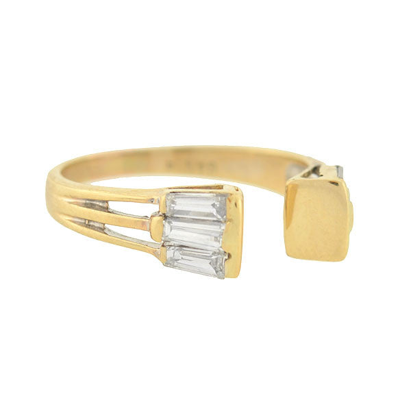 Estate 14kt Baguette Diamond Open Front Ring .58ctw