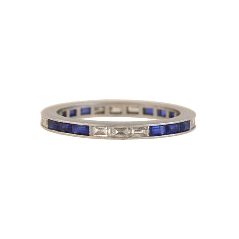 Art Deco Platinum Sapphire + Diamond Baguette Eternity Band