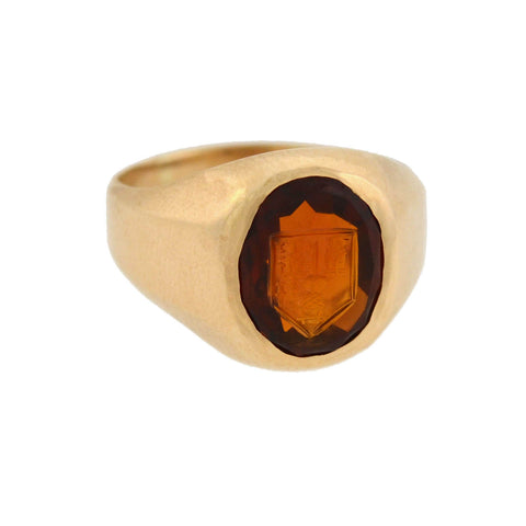 BAILEY BANKS & BIDDLE Art Deco 14kt Madeira Citrine Intaglio Signet Ring