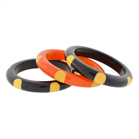 Retro 6 DOT Bakelite Bangle Bracelet Set
