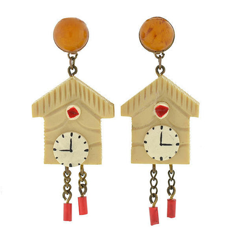 Retro Bakelite Painted Cuckoo Clock Earrings
